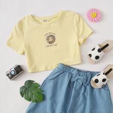Camiseta con estampado de letra y sol