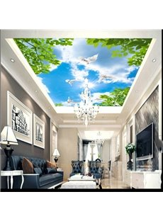 3D Green Leaves and Blue Sky Waterproof Durable and Eco-friendly Ceiling Murals