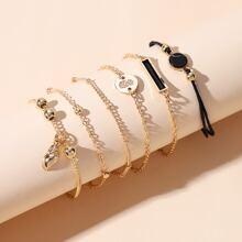 6pcs Round Decor Bracelet