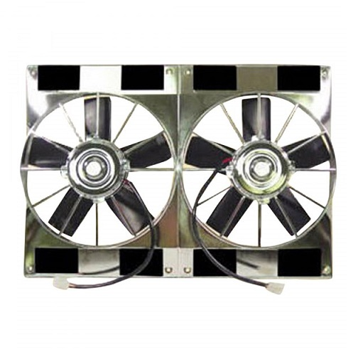Racing Power Company R1209 Universal Dual 11 12Volt Fan 2800CFM  Electric Cooling Fan Chrome