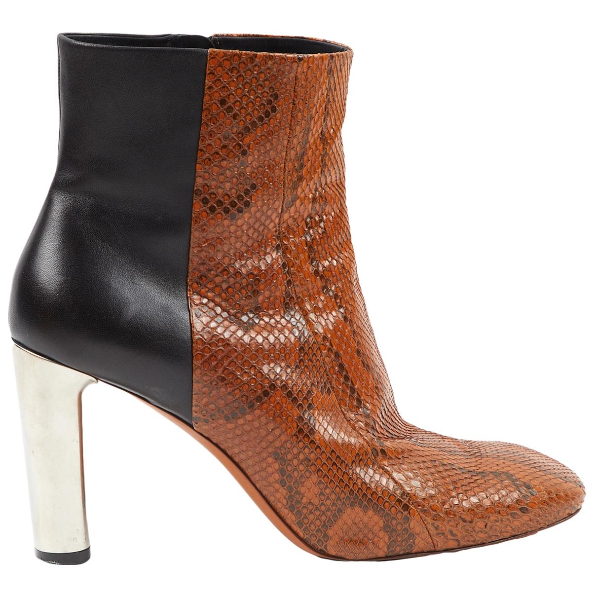 Celine - Boots   pour femme en serpent deau - camel
