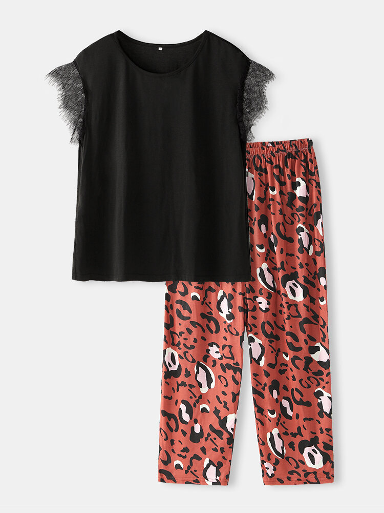 Plus Size Women Lace Short Sleeve Pajama Sets With Print Long Panty