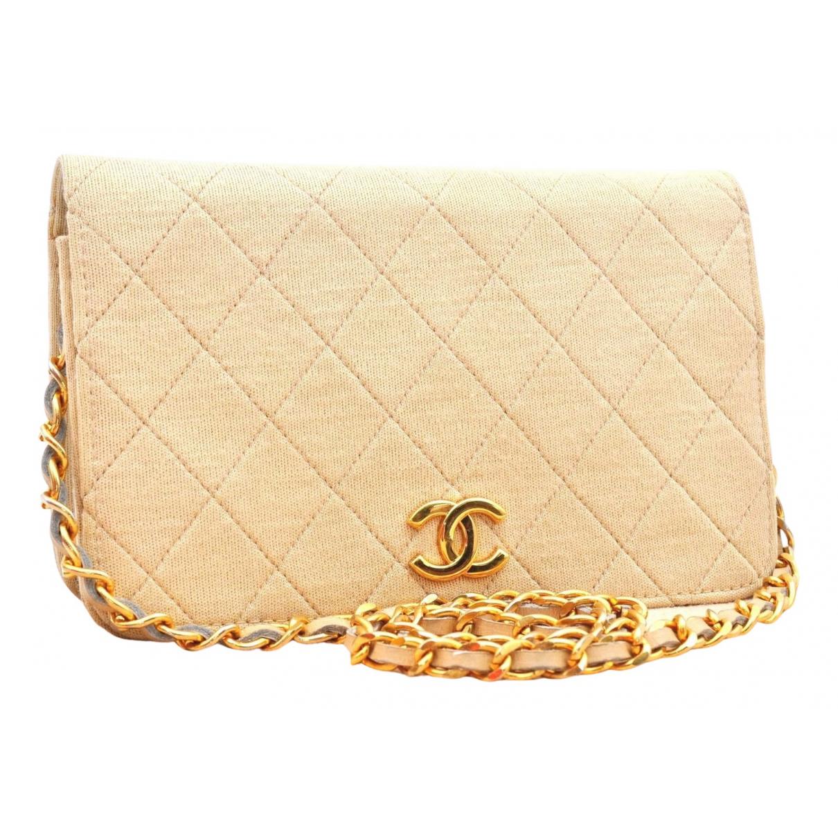 Chanel Timeless/Classique Handtasche in  Beige Leinen