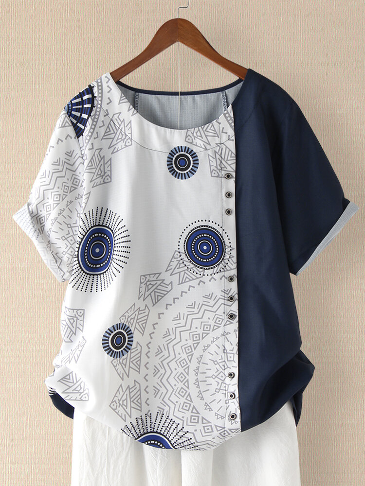 Geometric Print Rolled Sleeve Button Plus Size T-shirt