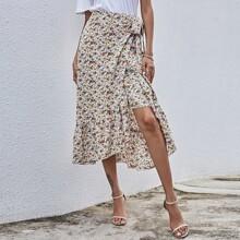 Falda cruzada bajo con fruncido con nudo lateral con estampado floral