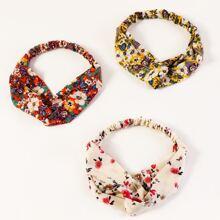 3 Stuecke Kopfband mit bunten Blumen Dekor