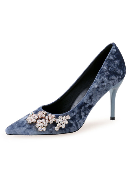 Milanoo Velvet High Heels Pointed Toe Rhinestones Stiletto Heel Pumps For Women