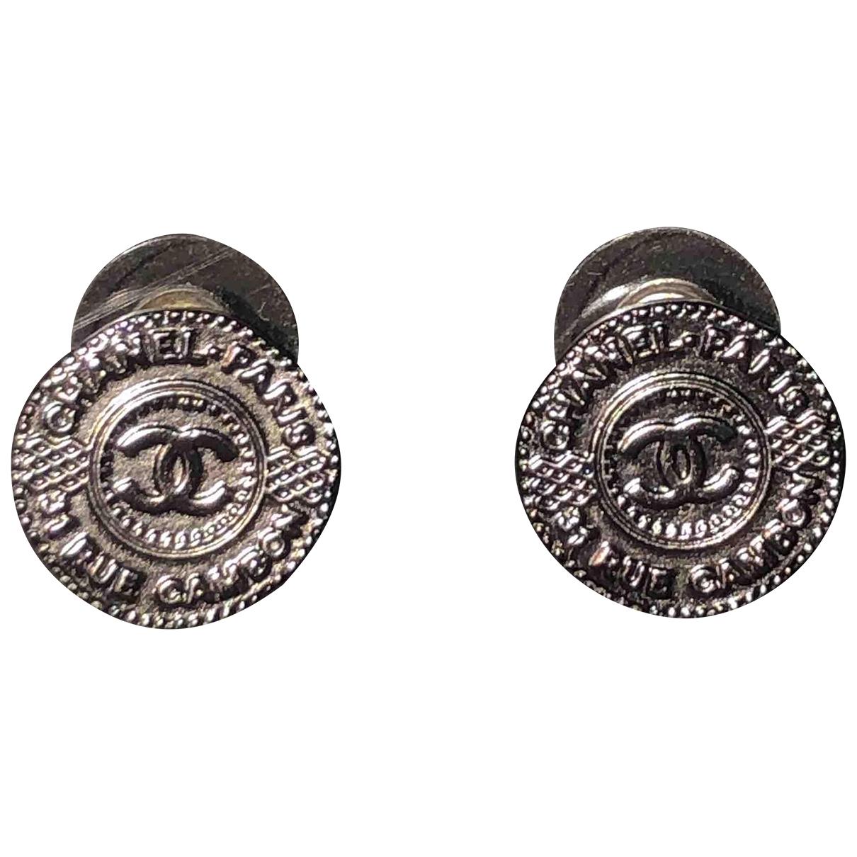Chanel - Boucles doreilles CHANEL pour femme en metal - anthracite