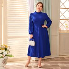 Plus Mock Neck Lantern Sleeve Dress