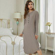 Button Front Rib-knit Curved Hem Lounge Dress