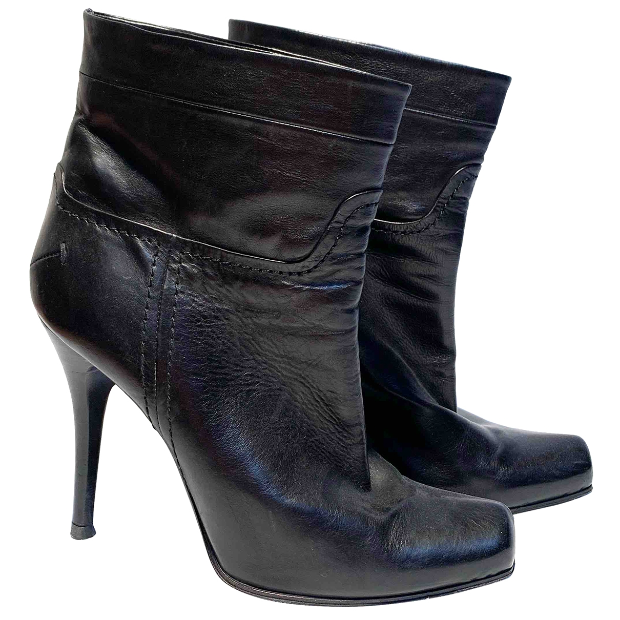 Costume National \N Black Leather Ankle boots for Women 38.5 EU