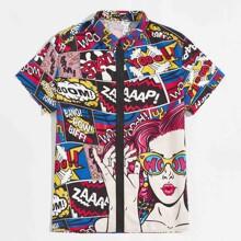 Camisa con estampado de arte pop tapeta con cremallera