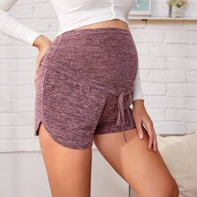 Maternity Tie Front Curved Hem Shorts
