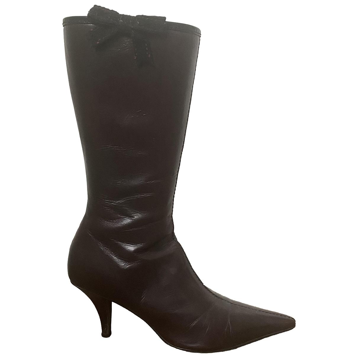Miu Miu \N Burgundy Leather Boots for Women 38 EU