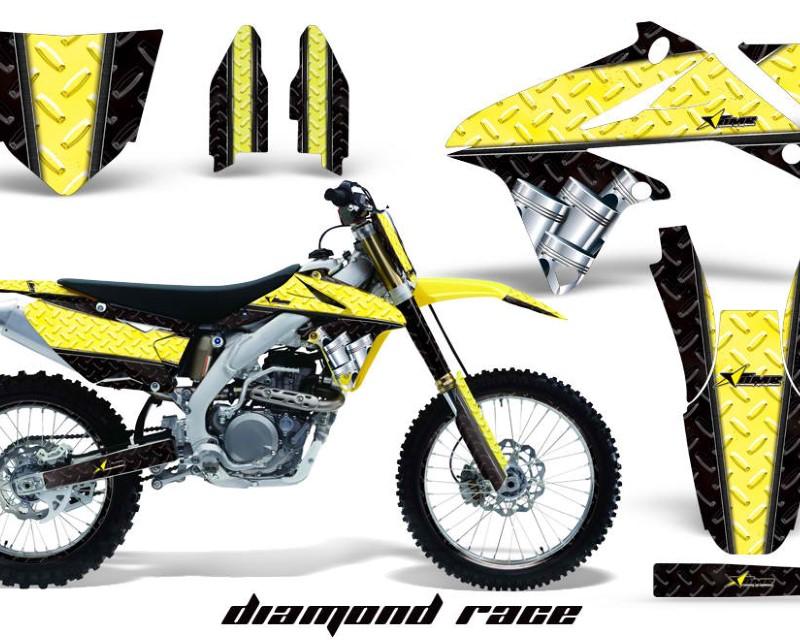 AMR Racing Graphics MX-NP-SUZ-RMZ450-08-17-DR Y K Kit Decal Sticker Wrap + # Plates For Suzuki RMZ450 2008-2017 DIAMOND RACE YELLOW BLACK