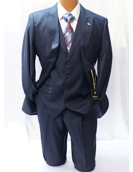 Men's Navy Blue 2 Buttons Style Classic Fit Vested Suits Pleated Pants