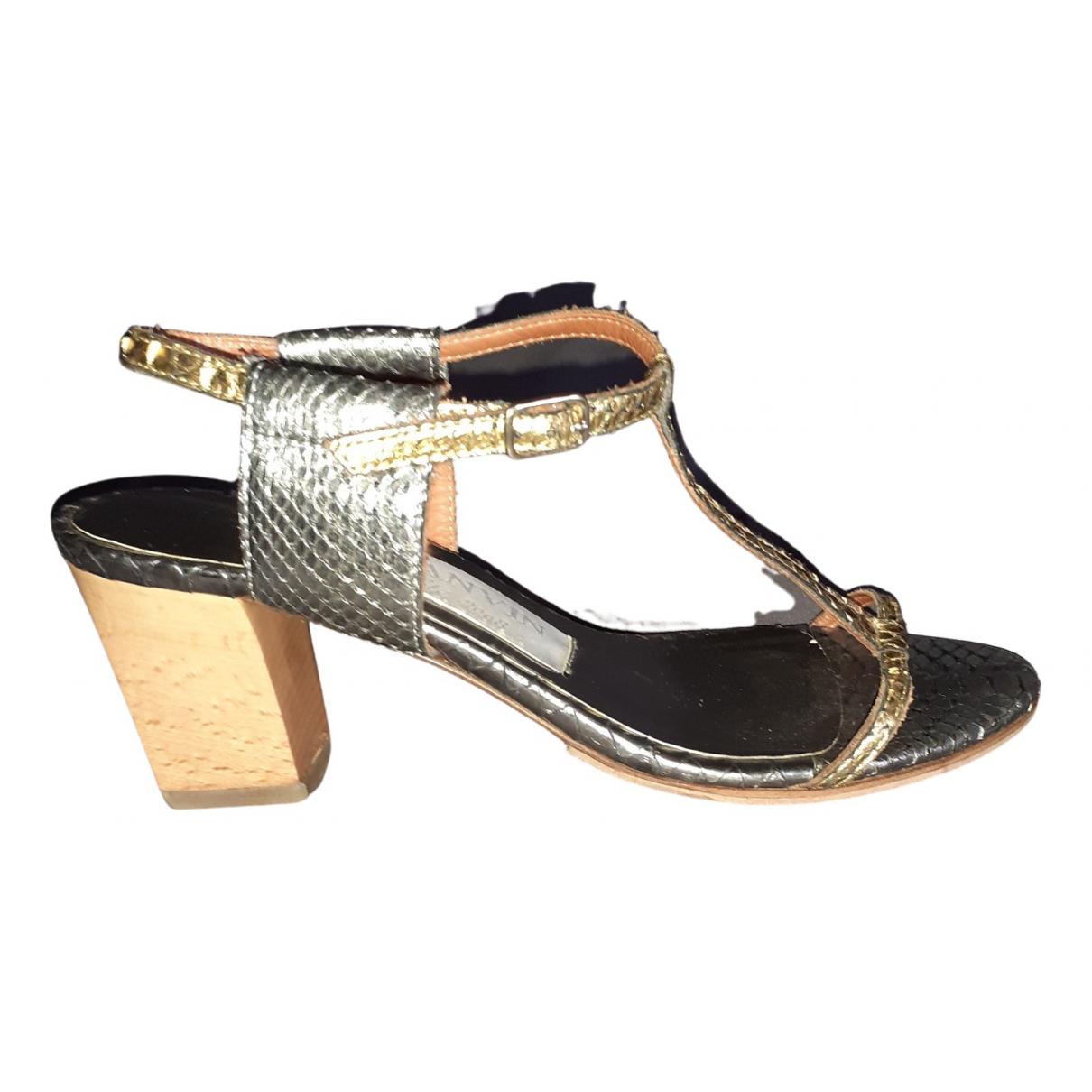 Lanvin N Metallic Python Sandals for Women 38 EU