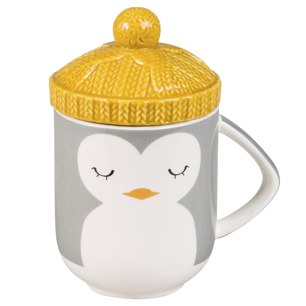 Deckel-Becher Pinguin aus Keramik