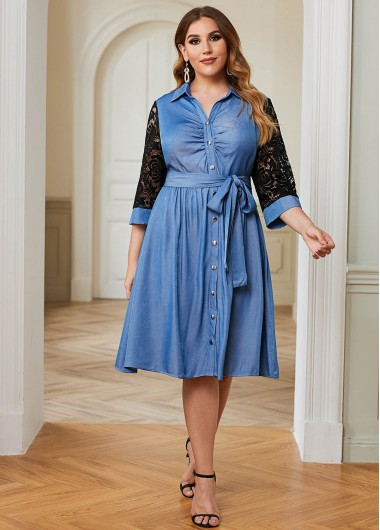 Plus Size Belted Lace Panel Denim Dress - 3X