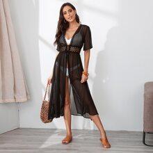 Guipure Lace Insert Tie Waist Sheer Kimono