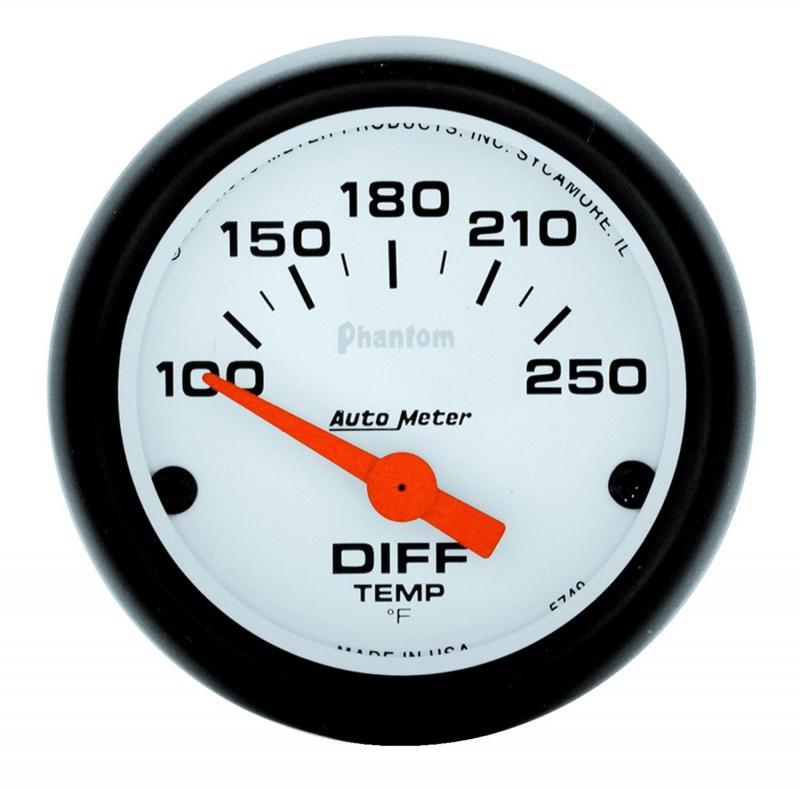 AutoMeter GAUGE; DIFFERENTIAL TEMP; 2 1/16in.; 100-250deg.F; ELECTRIC; PHANTOM
