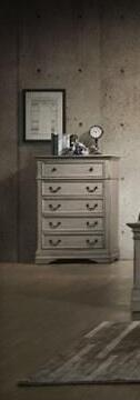 Amelia Collection AM400-CH Chest with 5 Drawers and Kenlin Center Glides in Antique White