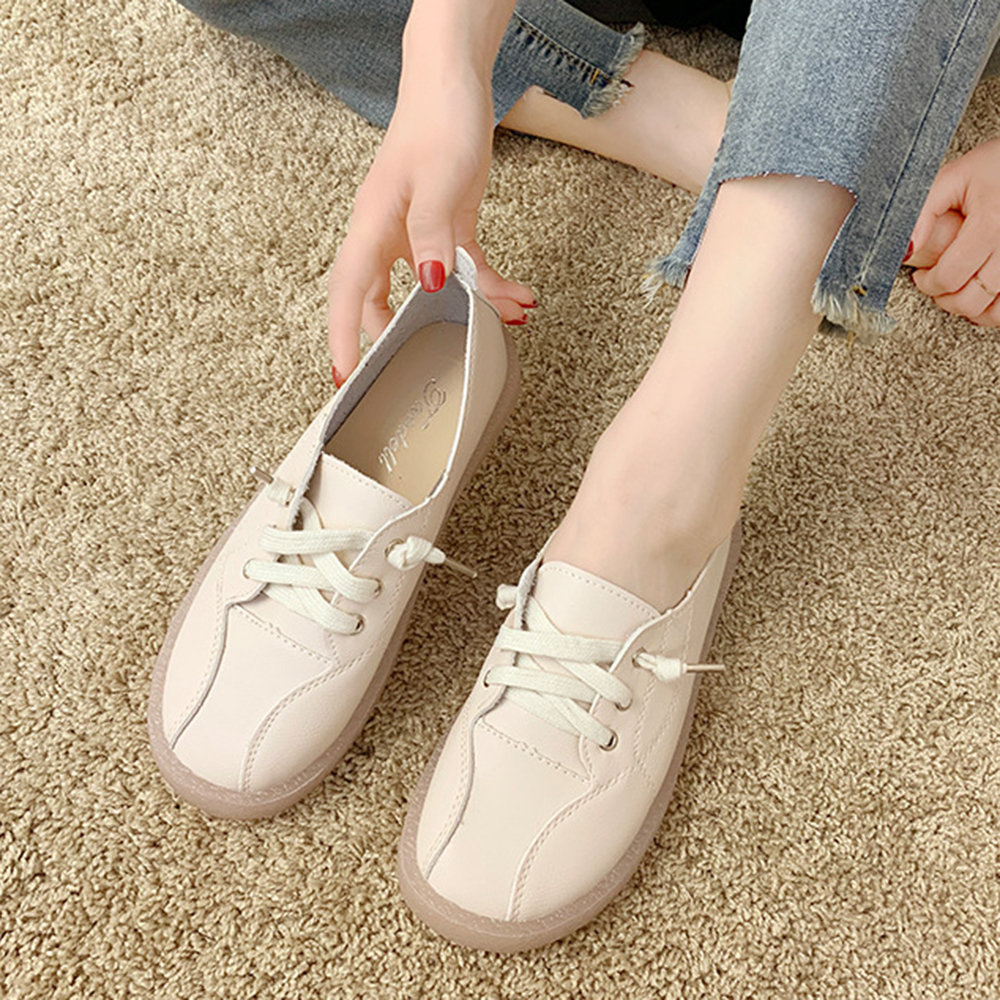 Women Stitching Solid Color Lazy Slip On Casual Flat Shoes