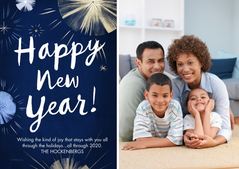 New Year's Photo Cards 5x7 Cards, Standard Cardstock 85lb, Card & Stationery -New Year Fireworks by Hallmark