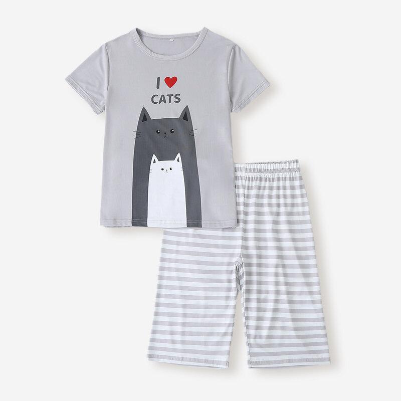 Boy's Cartoon Striped Print Short Sleeves Casual Pajama Set For 6-12Y