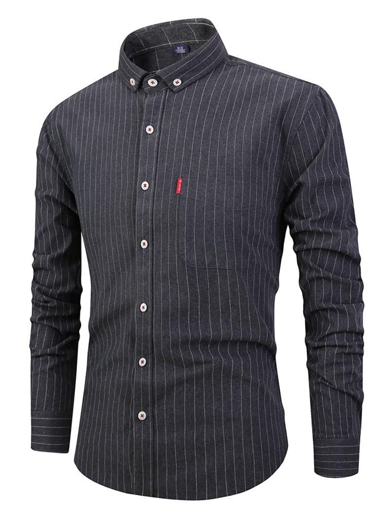 Ericdress Casual Stripe Pocket Single-Breasted Mens Slim Shirt