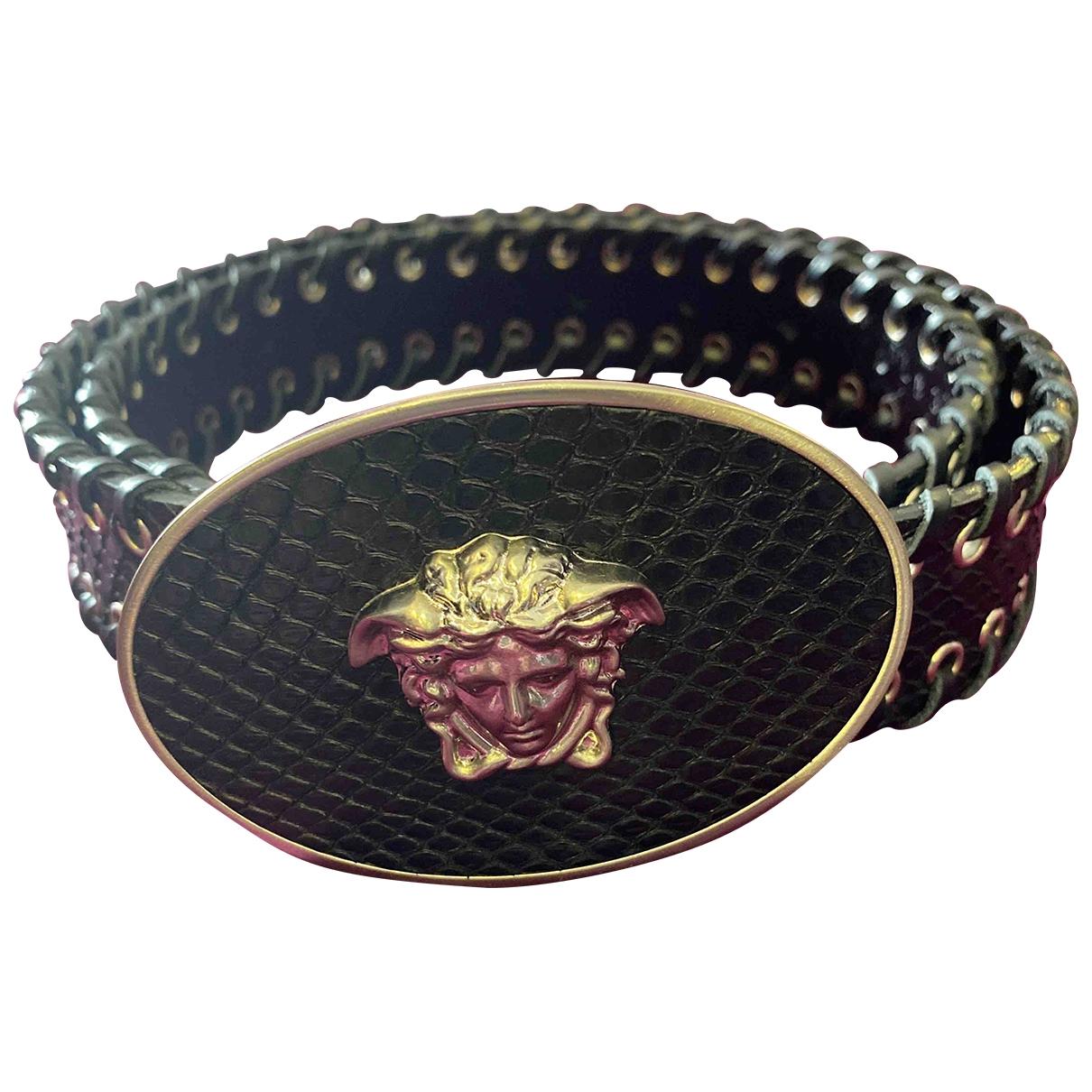 Gianni Versace - Ceinture   pour femme en python - noir