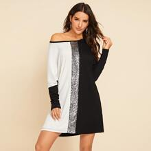 Contrast Sequin Cut-and-sew Tee Dress