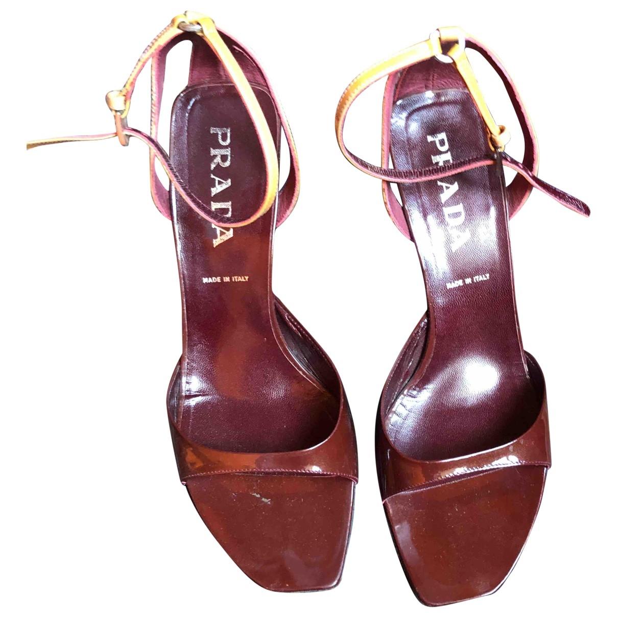 Prada - Sandales   pour femme en cuir - bordeaux