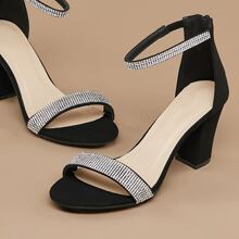 Open Toe Crystal Ankle Strap Chunky Heel Sandals