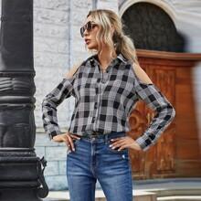 Schulterfreie Bluse mit Plaid Muster