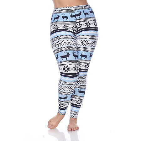 White Mark-Plus Womens Legging, One Size Fits Most , Blue