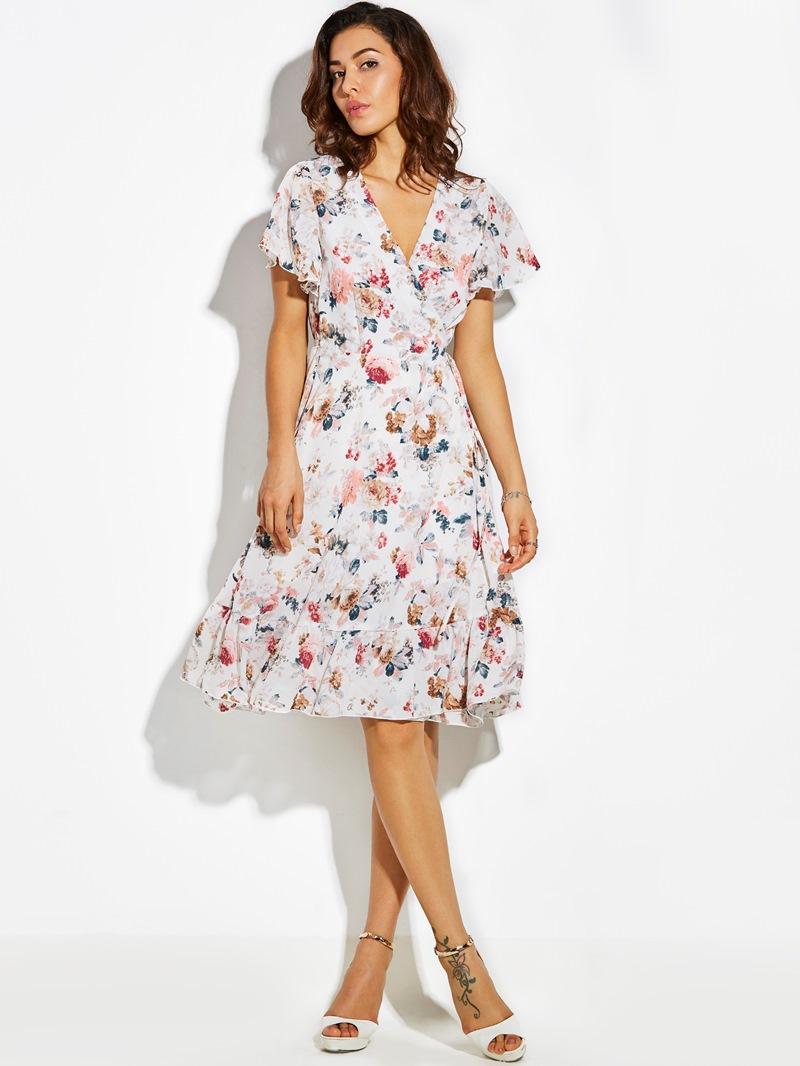 Ericdress V-Neck Print Lace-Up A-Line Dress