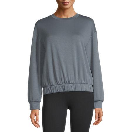 Stylus Elastic Bottom Womens Crew Neck Long Sleeve Sweatshirt, Small , Blue