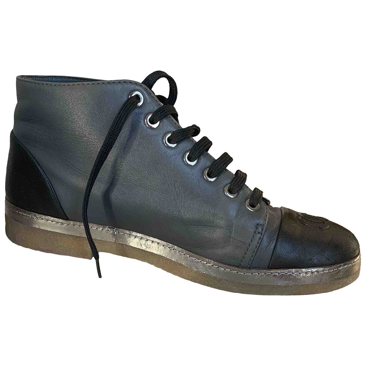 Chanel N Grey Leather Trainers for Women 38 EU