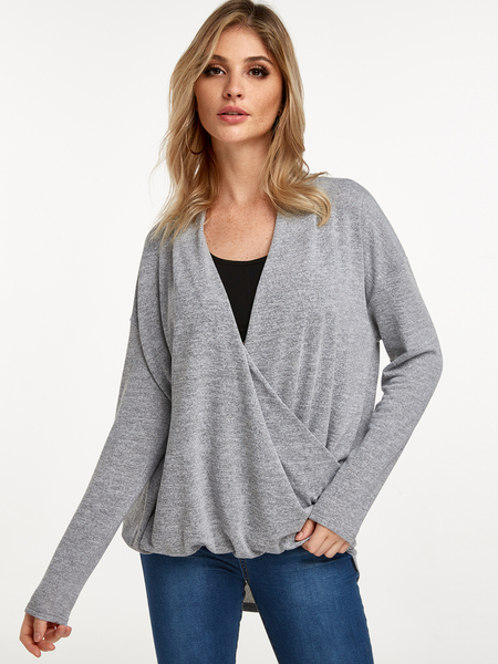 Yoins Grey Crossed Front V-neck Long Sleeves T-shirt