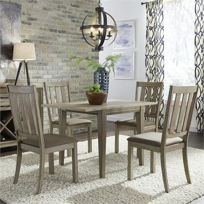 Sun Valley Collection 439-DR-5DLS 5PC Drop Leaf Set with 5x Slat Back Side Chair and 1 Drop Leaf Table in Sandstone