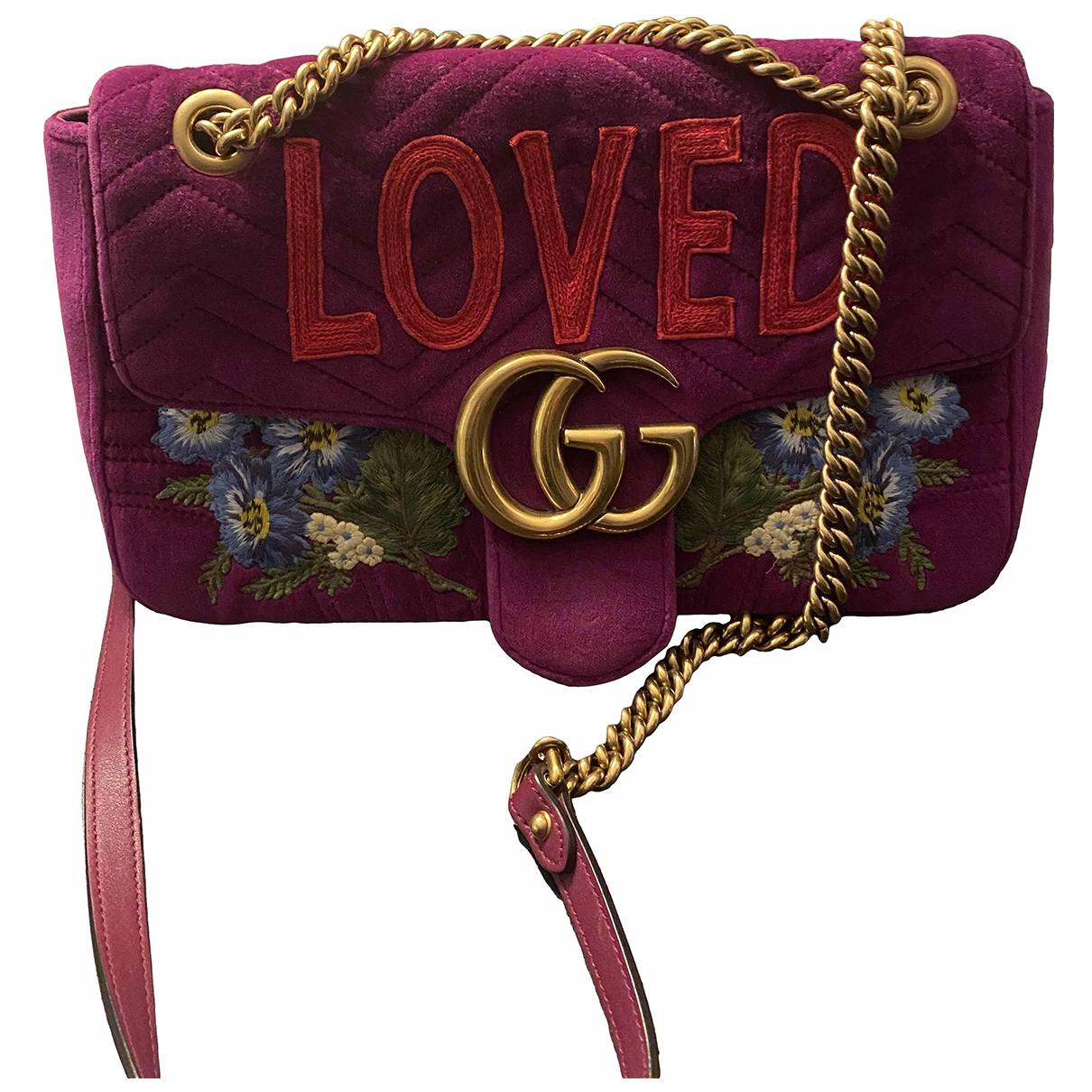 Gucci Marmont Handtasche in  Lila Samt