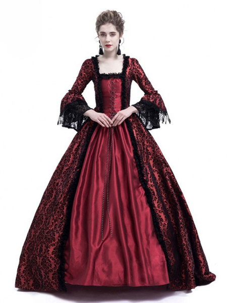 Milanoo Victorian Dress Costume Women's Long Gothic Trumpet Long sleeves Royal Blue Ball Gown Square neckline Victorian Era Clothing with hat Retro Co