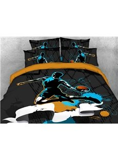 Slam Dunk Street Basketball Sporty 3D Printed 4-Piece Polyester Bedding Sets/Duvet Covers