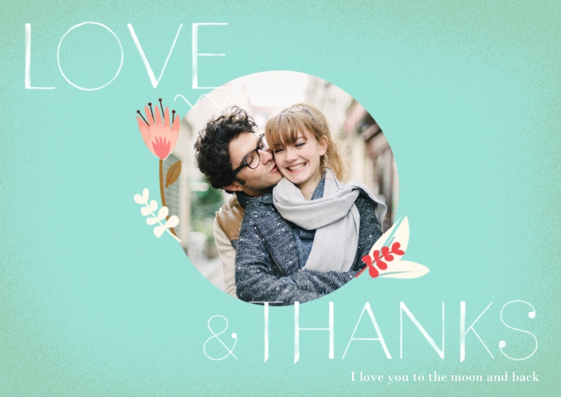 Thank You Cards 5x7 Cards, Premium Cardstock 120lb, Card & Stationery -Love & Thanks