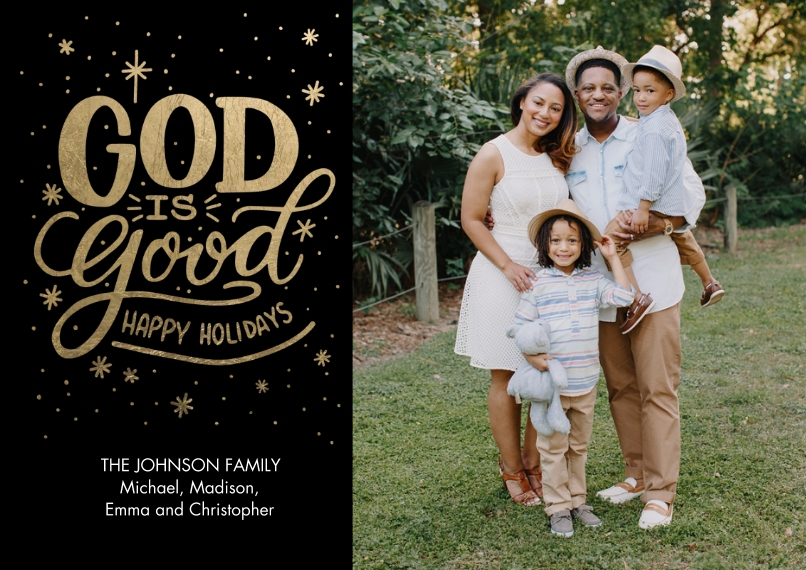 Christmas Photo Cards 5x7 Cards, Premium Cardstock 120lb with Elegant Corners, Card & Stationery -Christmas Snapshots God is Good by Tumbalina