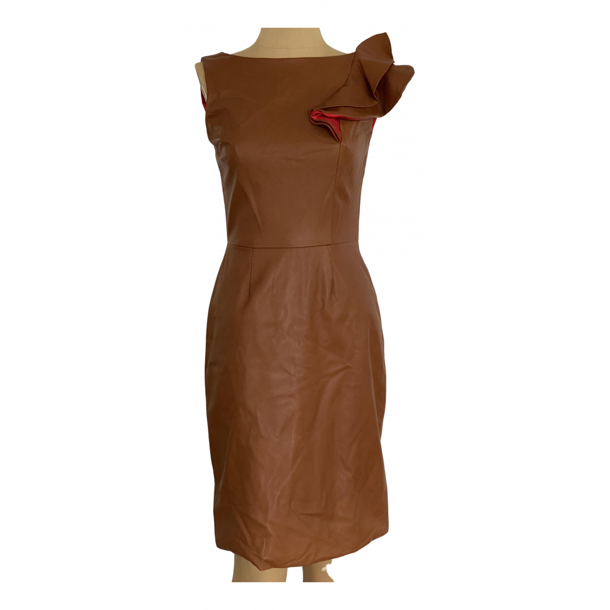 Christian Siriano \N Camel Leather dress for Women 4 US