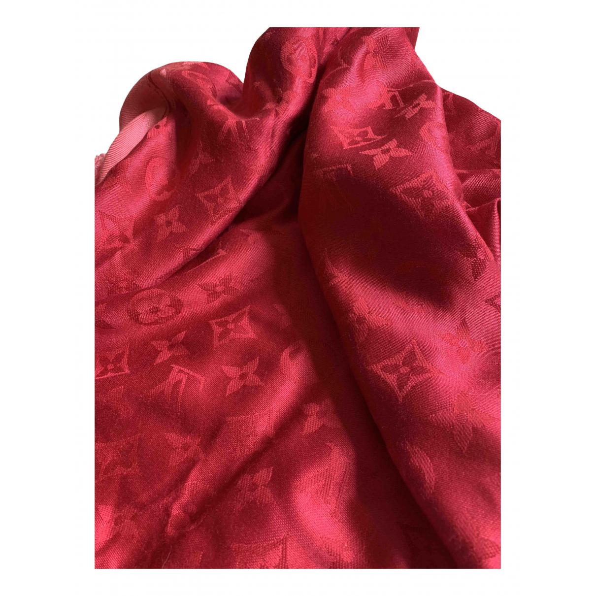 Louis Vuitton - Foulard Chale Monogram shine pour femme en soie - rouge