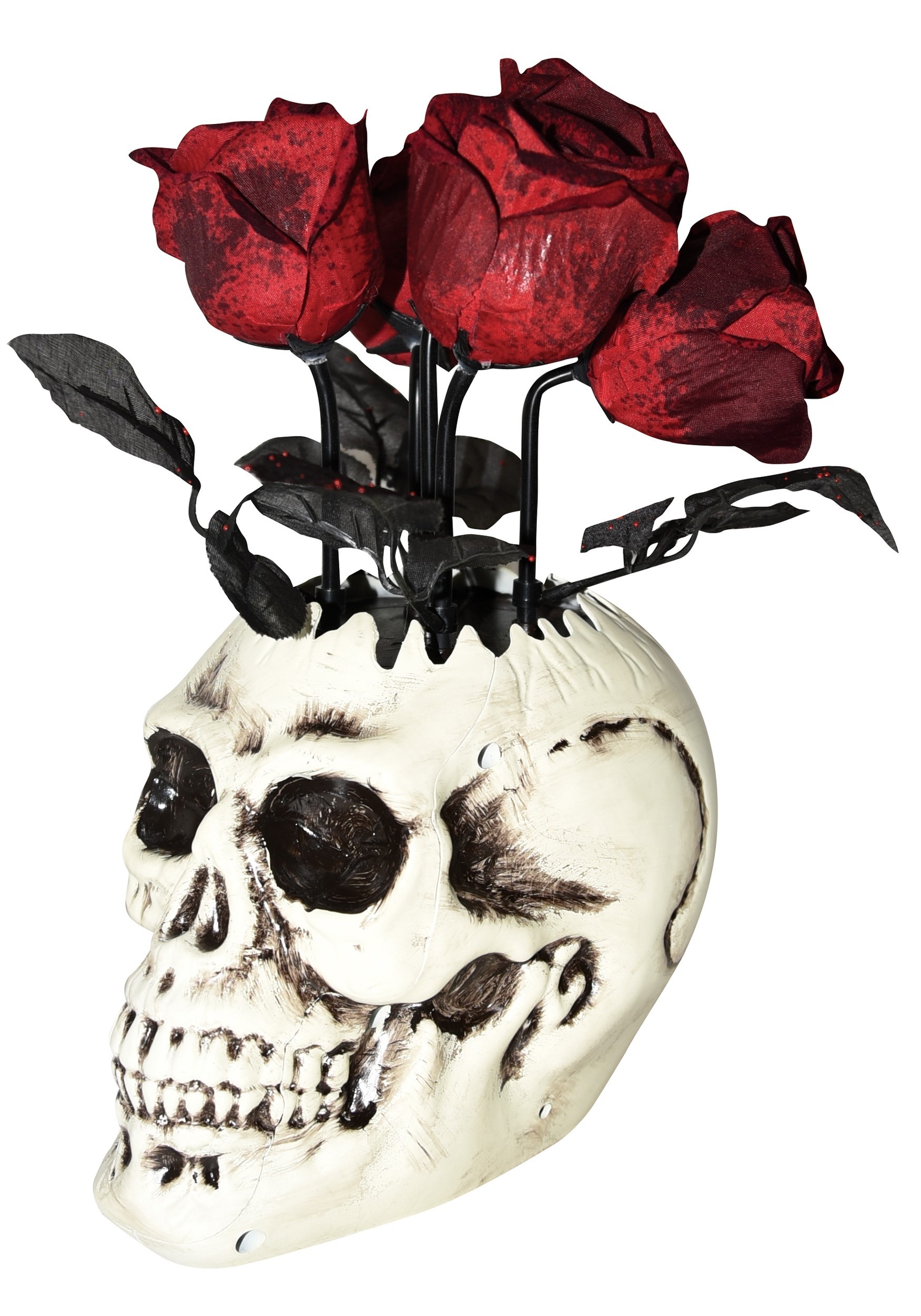 Animated Skull Vase with Roses Decoration