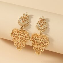 Hollow Out Flower Engraved Drop Earrings